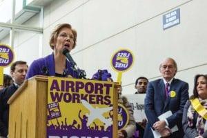 U.S. Sen. Elizabeth Warren speaks as U.S. Sen. Ed Markey looks on. PHOTO: TREA LAVERY